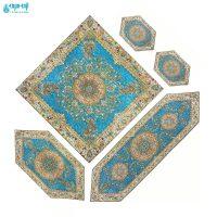 سرویس ۵ تکه رومیزی ترمه مدل افشار رنگ آبی درباری