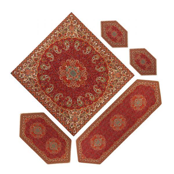 سرویس ۵ تکه رومیزی ترمه طرح نسترن قرمز