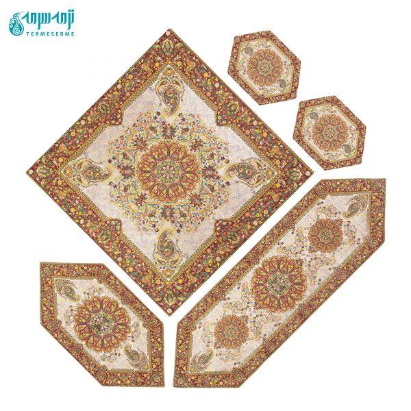 رومیزی ترمه ۵ تکه افشار تراکم ۱۵۰ رنگ کرم دور زرشکی