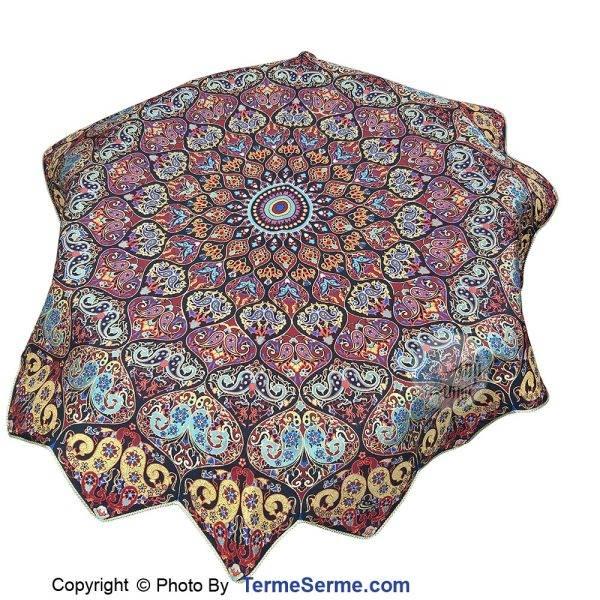 رومیزی ترمه 3 تکه ابریشم طرح روناک رنگ زرشکی