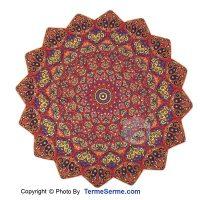 رومیزی ترمه 3 تکه ابریشم طرح روناک رنگ قرمز