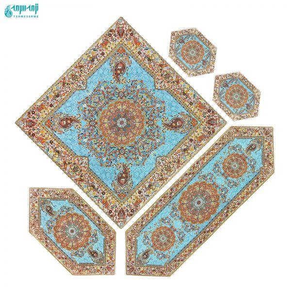 سرویس ۵ تکه رومیزی ترمه طرح افشار رنگ آبی فیروزه ای
