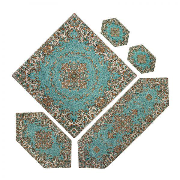 سرویس 5 تکه رومیزی ترمه طرح گل رنگ سبز فیروزه