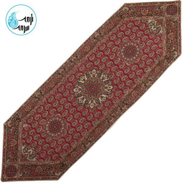 رومیزی ترمه پنج طرح قاجار رنگ زرشکی