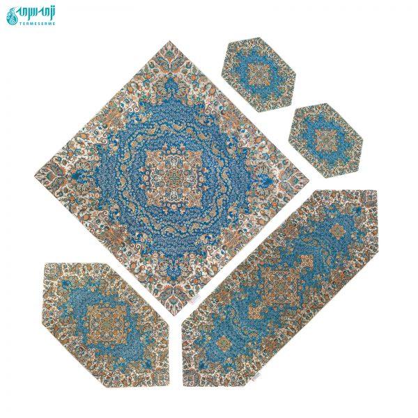 سرویس ۵ تکه رومیزی ترمه طرح گل رنگ آبی درباری