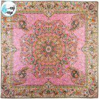 رومیزی ترمه ۵ تکه افشار تراکم ۱۵۰ رنگ صورتی