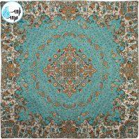 رومیزی ترمه پنج تکه طرح گل رنگ آبی فیروزه