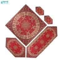 سرویس ۵ تکه رومیزی ترمه طرح شاه پسند قرمز