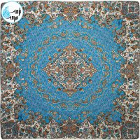 رومیزی ترمه طرح گل رنگ آبی