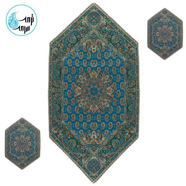 رومیزی ترمه پنج طرح قاجار رنگ آبی درباری