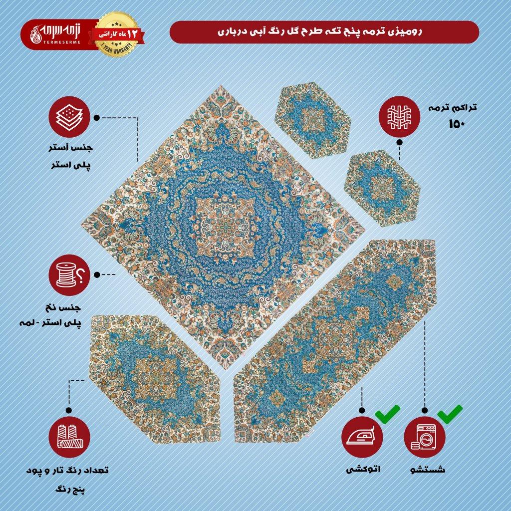 رومیزی ترمه پنج تکه طرح گل رنگ آبی درباری