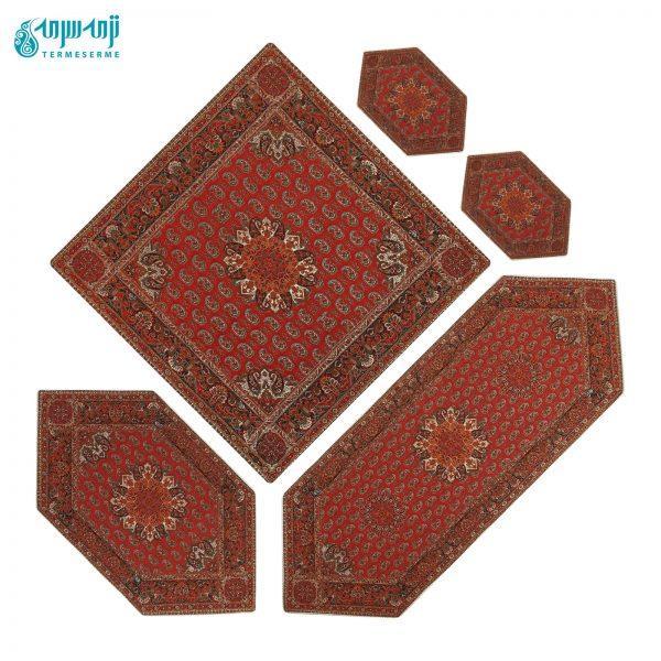سرویس ۵ تکه رومیزی ترمه طرح قاجار رنگ قرمز