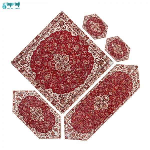 سرویس ۵ تکه رومیزی ترمه ابریشمی مدل شاه عباسی کد Sha-zrsh