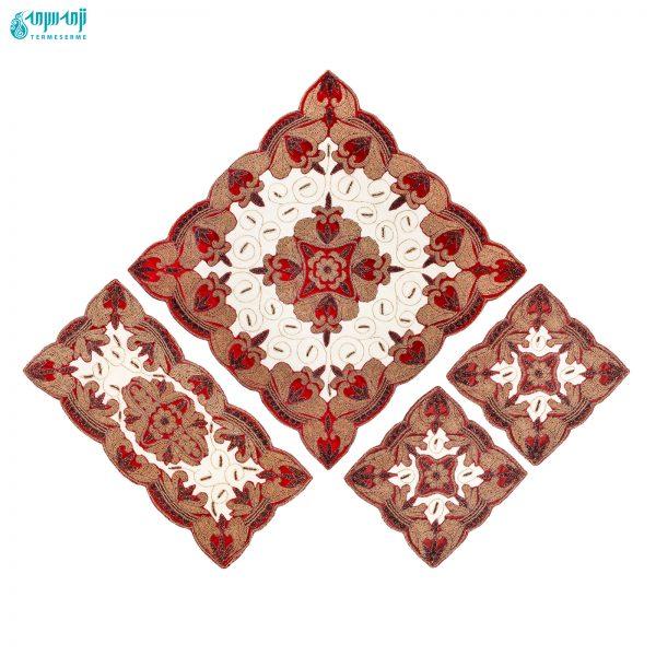 ست ۴ تکه رومیزی هندی مدل هما کد Hm1007