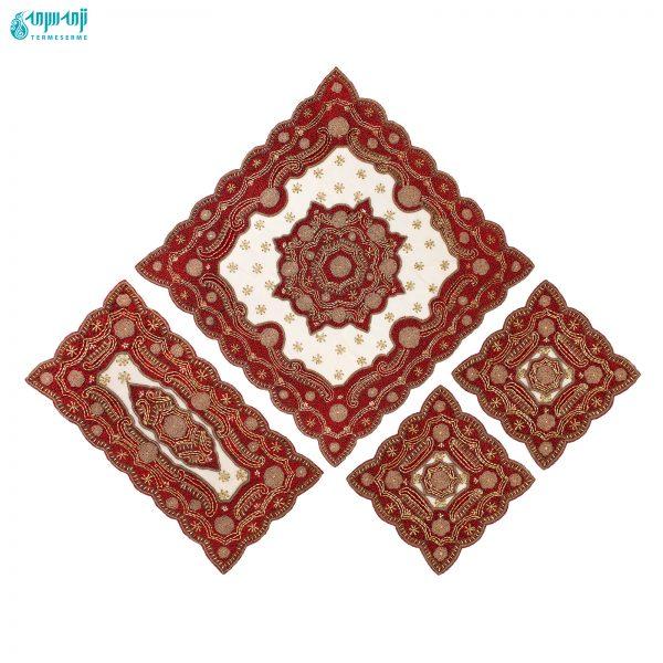 ست ۴ تکه رومیزی هندی مدل رایا کد Ry-ghz