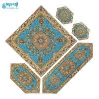 سرویس ۵ تکه رومیزی ترمه مدل افشار رنگ آبی روشن